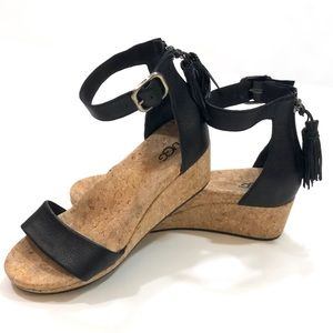 UGG Zoe Tassel Open Toe Wedge Sandal